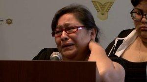 Juan Manuel Vida's mother pleads for the public's help at a press conference on Oct. 27, 2016. (Credit: KTLA)