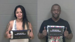 Mary Vega, 35, of New Britain, and Johnston Cox, 39, of Windsor, were arrested on Oct. 13, 2016 in connection with a clown prank in Connecticut. (Credit: New Britain Police Department)