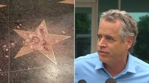Donald Trump's Walk of Fame star is shown after it was vandalized on Oct. 26, 2016. Alleged vandal James Otis speaks after being released from jail the following day. (Credit, left, Jamie Moreno; right, KTLA)