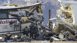 Authorities said 13 people were killed and 31 injured Sunday morning when a tour bus crashed into the back of a big rig near Palm Springs. (Credit: Gina Ferazzi / Los Angeles Times)
