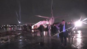 A plane carrying Mike Pence is seen after it skidded off a runway at LaGuardia Airport on Oct. 27, 2016. (Credit: pool via CNN)