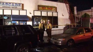 Firefighters were called to put out a blaze at a pet store in Lennox on Oct. 25, 2016. (Credit: KTLA)