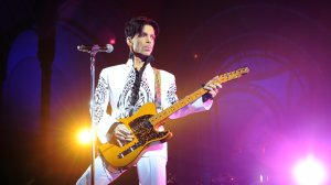 Prince performs on Oct. 11, 2009, at the Grand Palais in Paris. (Credit: BERTRAND GUAY/AFP/Getty Images)