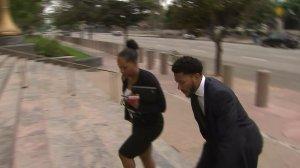 Derrick Rose enters U.S. District Court in downtown L.A. on Oct. 12, 2016. (Credit: KTLA)