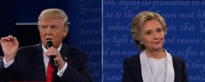 Donald Trump and Hillary Clinton at the 2nd presidential debate at Washington University in St. Louis, Missouri (Credit: CNN)