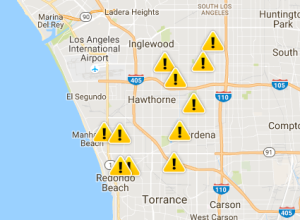 The SoCal Edison website showed outages in multiple locations across the South Bay on the morning of Oct. 11, 2016.