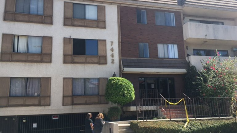 A man allegedly threw his mother out a second story apartment window, resulting in her death, according to LAPD. (Credit: Erin Myers / KTLA)