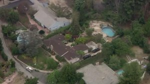 A Whittier home where an LAPD detective was found fatally shot is shown on Oct. 12, 2016. (Credit: KTLA)