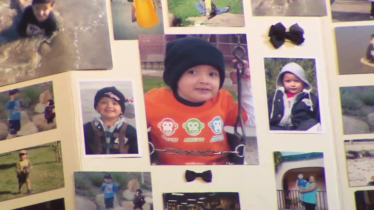 Yonatan Daniel Aguilar is seen in a collection of family photos shown at his memorial on Sept. 14, 2016 in Echo Park. (Credit: KTLA)