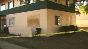 Two children were critically injured when a truck crashed into this apartment building in Oxnard on Nov. 7, 2016. (Credit: KTLA)