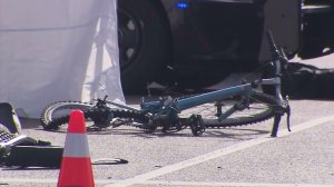 A 16-year-old boy bicyclist was fatally struck on the way to school in Pacoima on Nov. 15, 2016. (Credit: KTLA)