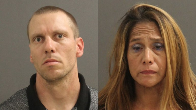 Brian James Alexander, left, and Melissa Marie Goehring, right, are seen in booking photos released by the Buena Park Police Department on Nov. 22, 2016.
