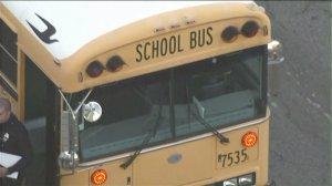 A bullet hit a school bus in South Los Angeles on Nov. 3, 2016. (Credit: KTLA)