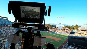 A television camera is trained on the field at Dodger Stadium on Monday, Aug. 4, 2014. (Credit: Luis Sinco / Los Angeles Times)