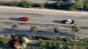 Authorities in pursuit of a vehicle in the Norwalk area of Orange County on Nov. 22, 2016. (Credit: KTLA)