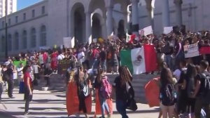 LAUSD students protest on the steps of Los Angeles City Hall on Nov. 14, 2016. (Credit: KTLA)