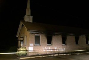 A black church in Mississippi was burned and vandalized on Nov. 1, 2016. (Credit: Angie Quezada/Delta Daily News)