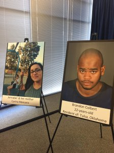 Brandon Colbert, right, and his alleged victims are shown in photos displayed at a Long Beach police news conference on Nov. 7, 2016. (Credit: Ellina Abovian / KTLA)