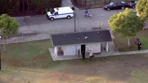 Three men were found shot to death in a park outbuilding in Compton on Nov. 22, 2016, according to the L.A. County Sheriff's Department. (Credit: KTLA)