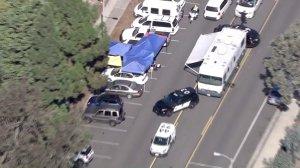 Costa Mesa police investigate a homicide on Nov. 2, 2016. (Credit: KTLA)