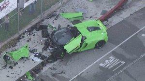 A McLaren sports car is totaled after a crash in Woodland Hills on Nov. 1, 2016. (Credit: KTLA)