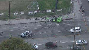 Two severely damaged vehicles are left at the scene of a crash in Woodland Hills on Nov. 1, 2016. (Credit: KTLA)
