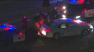 A driver was taken into custody following a pursuit in South L.A. on Nov. 15, 2016. (Credit: KTLA)