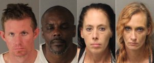 From left, Chadwick Clark, Reginald Young, Jessica Black and Jennifer Durivege are shown in booking photos released Nov. 29, 2016, by the Riverside Police Department.