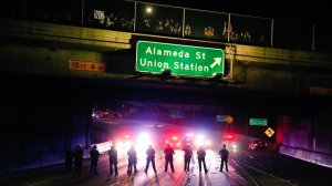 Police block traffic on the 101 Freeway near downtown L.A. as protesters rally against Donald Trump's election as president. (Credit: Marcus Yam / Los Angeles Times)