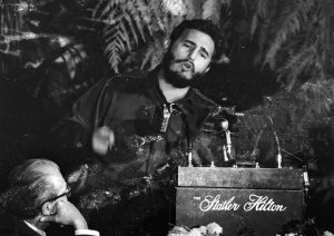 Fidel Castro, Premier of Cuba addressing the American Society of Newspaper Editors during a meeting in  Washington, DC in April 1969. (Credit: Keystone/Getty Images)