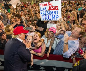 Donald Trump greets supporters after his rally at Ladd-Peebles Stadium on Aug. 21, 2015, in Mobile, Alabama. (Credit: Mark Wallheiser/Getty Images)