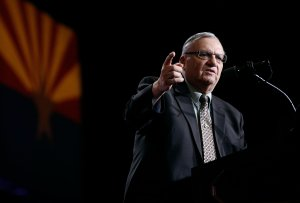 Former Maricopa County Sheriff Joe Arpaio speaks in support of Republican presidential candidate Donald Trump during a Trump campaign rally on Aug. 31, 2016 in Phoenix, Arizona. (Credit: Ralph Freso/Getty Images)