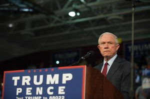 Alabama Senator Jeff Sessions pledges his commitment to Republican candidate Donald Trump before he speaks to supporters at a rally on Oct. 10, 2016, in Ambridge, Pennsylvania. (Credit: Jeff Swensen/Getty Images)