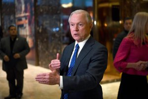 US Senator Jeff Sessions of Alabama talks to the media at the Trump Tower in New York on November 17, 2016. (Credit: JEWEL SAMAD/AFP/Getty Images)