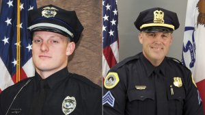 """Urbandale police Officer Justin Martin (left) and Des Moines police Sgt. Anthony """"Tony"""" Beminio (right) are seen in undated photos released by their respective departments on Nov. 2, 2016."""