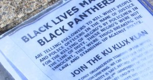 Fliers such as these have been posted across an Alabama town, apparently by the KKK, encouraging people to vote. (Credit: WHNT)