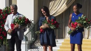 Olympians Greg Louganis (left), Janet Evans (center) and Allyson Felix (right) were named as grand marshals of the 2017 Tournament of Roses Parade on Nov. 3, 2016. (Credit: KTLA)