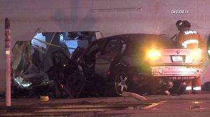 Firefighters respond to a fatal crash in Norwalk on Nov. 26, 2016. (Credit: OnScene.TV)