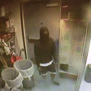 Orange Police Department officials released this surveillance photo of a man who allegedly robbed a Chipotle on Nov. 2, 2016. (Credit: KTLA)