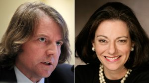 Donald McGahn, left, testifies before the Elections Subcommittee of House Committee on House Administration Nov. 3, 2011; KT McFarland, right, is shown in her portrait from the U.S. Naval Academy website.