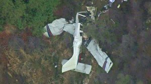 Wreckage from a plane was discovered near Upland on Nov. 22, 2016. (Credit: KTLA)