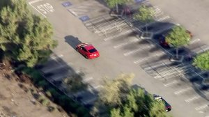 The driver at one point led police through a Target parking lot. (Credit: KTLA)