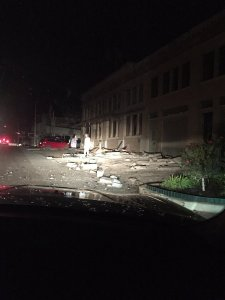 A strong earthquake that rumbled through central Oklahoma Sunday November 6, 2016 night has caused damage to buildings and resulted in the evacuation of nearby residents.