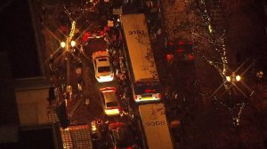 Several hundred protesters appeared on the streets of downtown Portland. (Credit: KPTV via CNN)