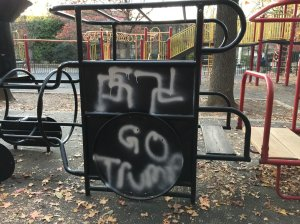 """""""Go Trump"""" with Swastika paintings are seen at Adam Yauch Park on Friday, Nov. 18th at 3pm, according to NYPD spokesperson, Annette Shelton. (Credit: CNN)"""