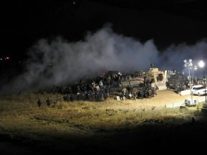 Police and about 400 people who were protesting the Dakota Access Pipeline clashed Nov. 20, 2016, as authorities launched tear gas and water at the crowds. (Credit: Morton County Sheriff's Department via CNN)