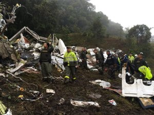 Images posted by the Antioquia Police Department show the scene where a chartered flight crashed. Seventy-six people are confirmed dead following a plane crash outside Medellin, Colombia. (Credit: Antioquia Police Department)