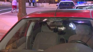 A person was shot while driving on the 5 Freeway in Boyle Heights. (Credit: KTLA)