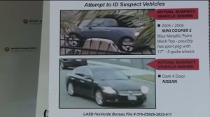 Cars suspected in a drive-by shooting are shown during a press conference in Monterey Park on Nov. 18, 2016. (Credit: KTLA)