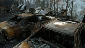 The remains of a home and cars smolder after a wildfire November 29, 2016 in Gatlinburg, Tennessee (Credit: Brian Blanco/Getty Images)
